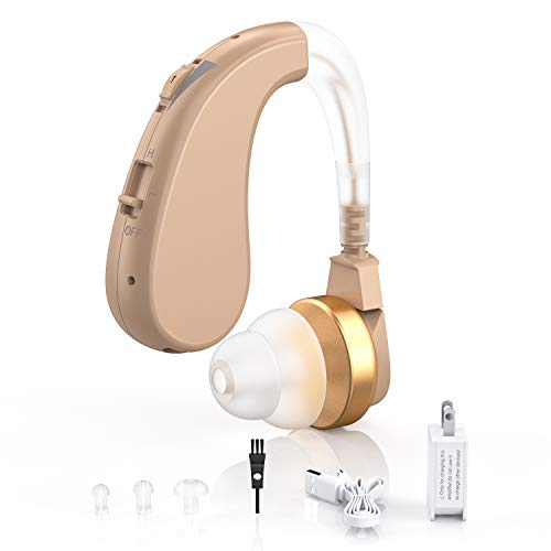 Digital Hearing Amplifiers - Rechargeable Personal Sound Enhancer with Volume Control Noise Reduction for Adults and Seniors, Hearing Aid Brushes Included by Blomed