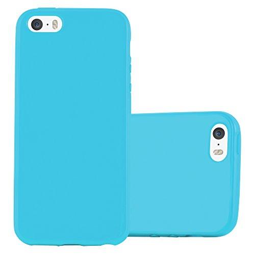 Cadorabo Funda para Apple iPhone 5 / iPhone 5S / iPhone SE en Jelly Azul Claro - Cubierta Proteccíon de Silicona TPU Delgada e Flexible con Antichoque - Gel Case Cover Carcasa Ligera