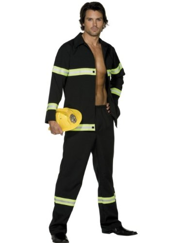Smiffys mens Fever Fireman Adult Sized Costume, Black, L - US Size 42 -44