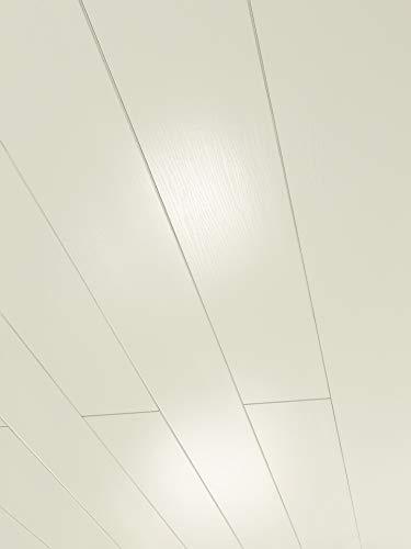 Parador Wand & Decke Novara - Esche Weiss glänzend geplankt Dekor - Dekorpaneele feuchtraumgeeignet, einfache und schnelle Montage - 1242 x 192 x 10 mm