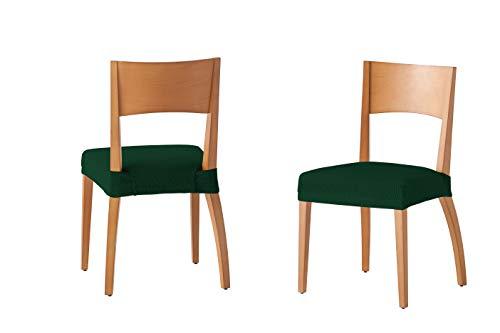Martina Home Tunez - Funda para Silla, Tela, Funda silla asiento, Verde botella, 24 x 30 x 6 cm, 2 Unidades