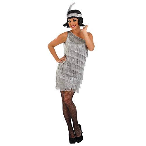 Fun Shack Silbernes 20er Jahre Kostüm, Fransenkleid für Damen - M