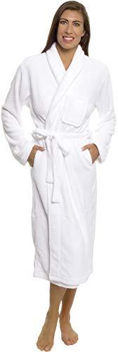 Silver Lilly Womens Bathrobe Plush Wrap Kimono Loungewear Gown (White, L/XL)