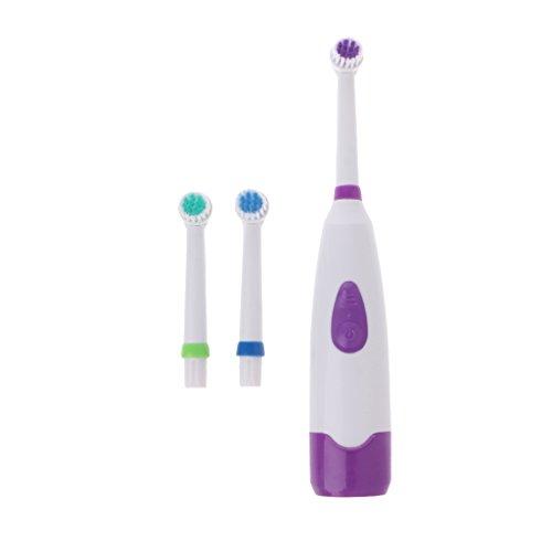 Lazder Wasserdichte Rotierend Elektrische Zahnbürste für Kinder mit 3 Bürstenkopf (Lila)