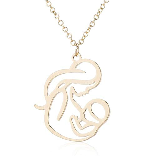ZYR Hollow Mum Mommy Breastfeeding Holding Baby Pendant Necklace Chain Mother's Day Family Charm Jewelry-Gold