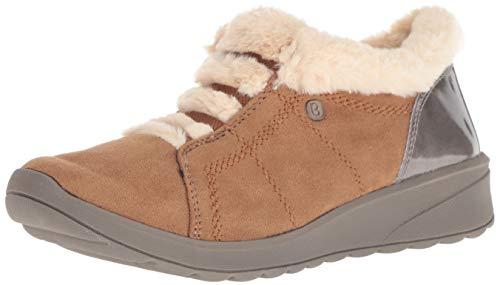 Bzees Women's Golden Ankle Boot, toffee microfiber/beige faux fur, 10 W US