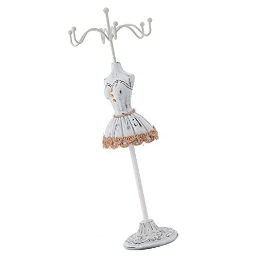 FOLOSAFENAR Soporte de la joyería, Soporte único del Tenedor del Pendiente del diseño de la Forma de la Falda para Guardar los Pendientes para exhibir los Collares(Elegant Grey No. 2)