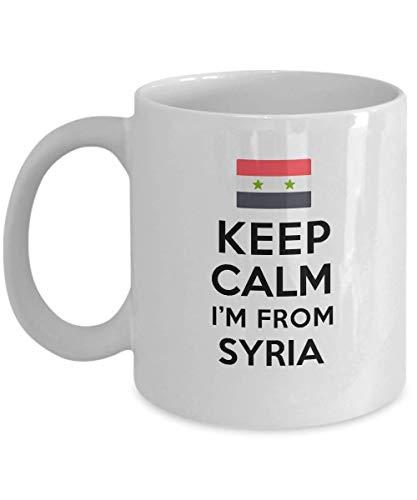 Taza para sirios con texto en inglés 'Keep Calm I'm from Syrians' - Taza de té con texto en inglés 'Keep Calm I'm from Syria'