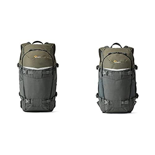 Lowepro Flipside 350 AW Rucksack, Fotorucksack für DSLR-Kameras und mehrere Objektive, grau & LP37014-PWW Flipside Trek Kameratasche BP 250 AW grau/dunkelgrün
