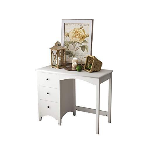 SogesPower Sofa Beistelltisch Kleiner Schreibtisch Konsole Tisch Make-up Schreibtisch Home Office Schreibtisch Study Tisch mit 3 Schubladen Weiß