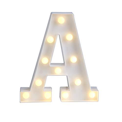 Letras LED iluminadas con luz blanca cálida, luz nocturna