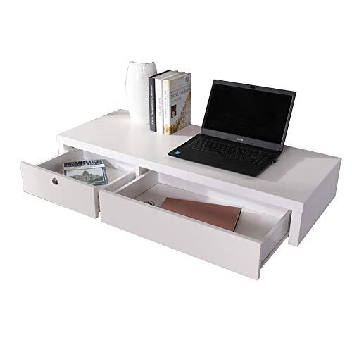 WXQIANG Estantes flotantes de pared con suspensión multifunción escritorio de ordenador de 2 puertas, cajón de alta capacidad, paneles de madera prácticos, 3 estilos, duraderos y protectores