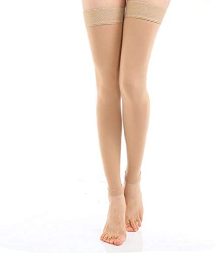 TOFLY Thigh High Compression Stocking Footless for Women & Men, 1 Pair, Opaque, Medical Support Hose 20-30mmHg Graduated Compression with Silicone Band - Varicose Veins, Swelling, Edema, DVT, Beige L