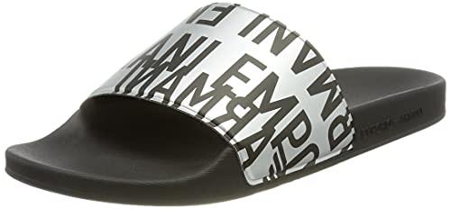 Emporio Armani Swimwear Slipper Glazed Metal, Sandalias deslizantes. Hombre, Silver Black Black, 39 EU