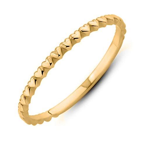 Ardeo Aurum Damenring aus 375 Gold Gelbgold Herz-Ring Vorsteckring Stapelring