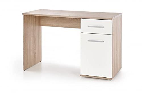 Mesa de escritorio de madera, con 1 cajón y 1 puerta Lima B-1, color blanco y roble Sonoma, 120 x 55 x 75 cm