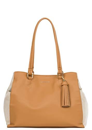 JETTE JOOP Tasche Damen Shopper FrameMix caramel+Shiny Canvas Schultertasche Umhängetasche