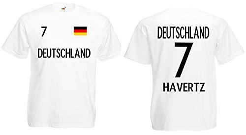 Deutschland Havertz Herren T-Shirt EM 2020 Trikot Look Style Shirt Weiß XL