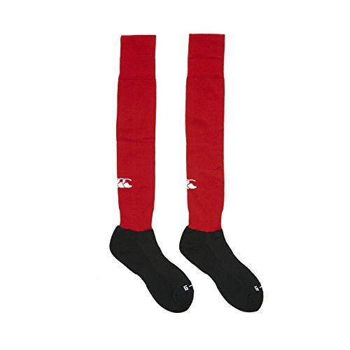 Canterbury T23947-001-XS Chaussettes de rugby Homme, Rouge Vif - L