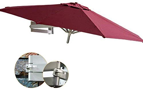 Sombrilla Parasol Jardin Soporte de Pared al Aire Libre Patio Sombrilla con Poste de Aluminio, Ronda sombrilla de jardín Balcón o terraza Shade a Prueba de Viento