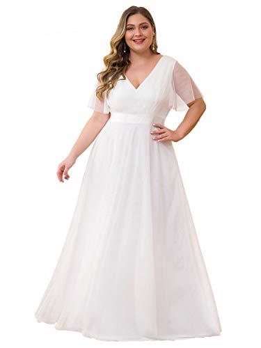 Ever-Pretty Damen Abendkleid V Ausschnitt A-Linie Kurze Ärmel Lange Tüll Brautjungfernkleid Weiß 50