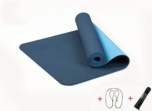 QAZ 6MM TPE Tapis de Yoga élastique antidérapant pour débutants Fitness respectueux de l'environnement Tapis de Pilates Gym Gym Mat, Dark Blue (Sac)