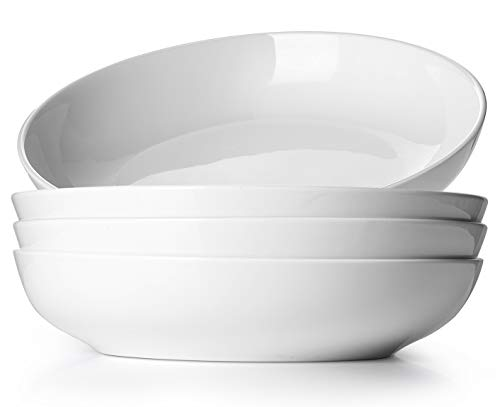 DOWAN 9.75' Wide Pasta Bowls, Ceramic Salad Bowls 50 Ounces, Large Serving Bowl Set of 4, Microwave and Dishwasher Safe, Shallow and Versatile, White