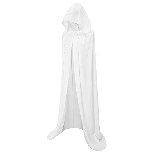 VEMOW Herren Umhang Kapuzen Vampir Zauberer Ritter Kostüm Halloween Karneval Party Fancy Cosplay Kostüm für Erwachsene(Weiß,XL)