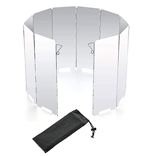 Protección Contra el Viento para Cocinas de Gas Parabrisas de Camping Estufa de Camping Parabrisas Plegable Pantalla Viento Placas Plegable al Aire Libre Estufa de Camping Portátil con Parabrisas