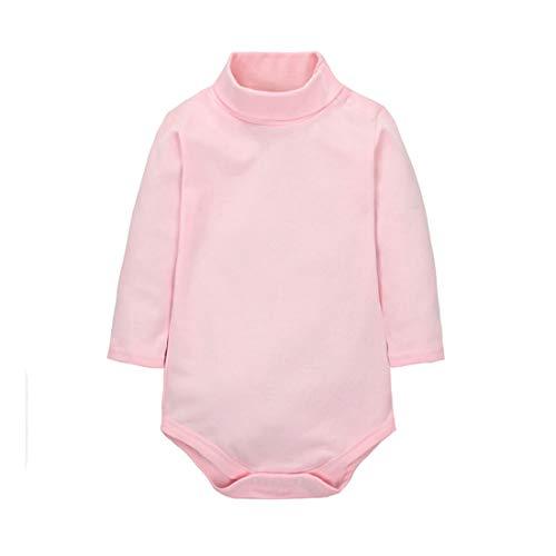 CuteOn bébé Garçons Filles Solide Couleur De base Col roulé Coton Bodysuit Top - Pink 24 Mois
