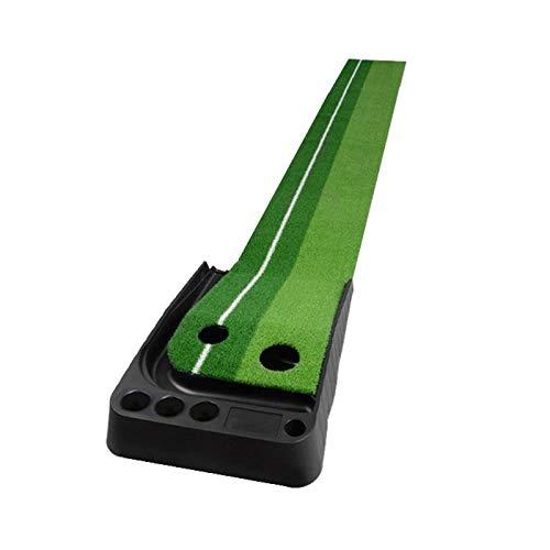 PGM Golf Mini Putting Mat Rod Trainer 3m schieben, ohne Auto-Ball Return Fairway (Grün). (Color : Green)