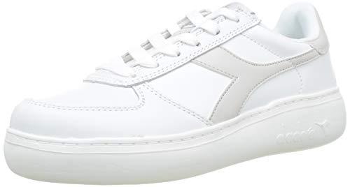 Diadora Damen B.Elite Wide Sneaker, Bianco Bianco Candido Grigio Vento C7904, 40 EU