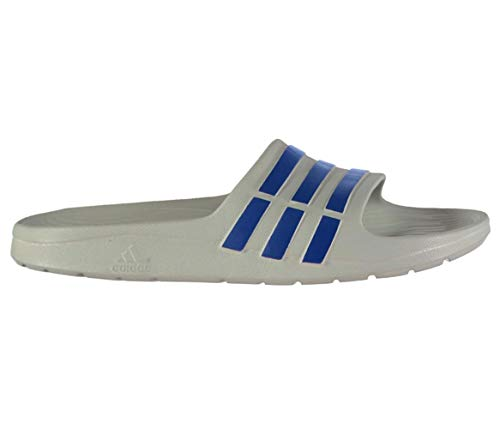 adidas Boys Kids Junior Duramo Slide Open Toe Sandals Flip Flop Grey & Blue (Size 4 U.K (EU 36))
