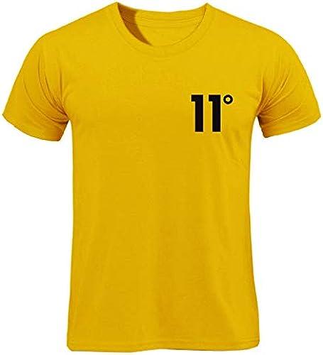 YKDDJJ T-Shirt en Coton Blanc d'été à Manches Courtes T-Shirt en Coton d'été à Manches Courtes, col Rond, Robe MultiCouleure pour Hommes XXL jaune-H110X