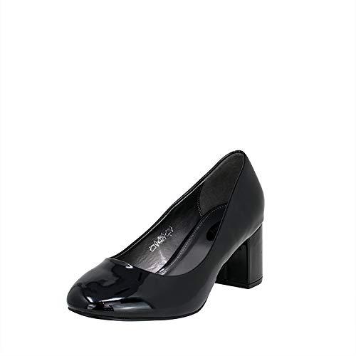 Fitters Footwear That Fits Damen Pump Sesy Lack Pumps mit Blockabsatz Übergröße (43 EU, schwarz)
