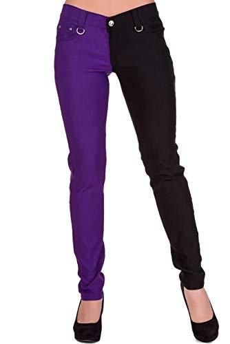 "Banned Pantalones Ajustados Rojo EMO Punk Mujeres de Piernas Separadas - Púrpura (XS / 26"" / ES 36)"