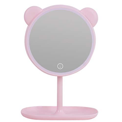 Miroirs de poche Maquillage Miroir-LED Ours Miroir de Maquillage avec la lumière dortoir de Bureau Dressing Charge Fille étudiant beauté miroirs de Bureau avec lumière Haute définition Lampe de Maqui