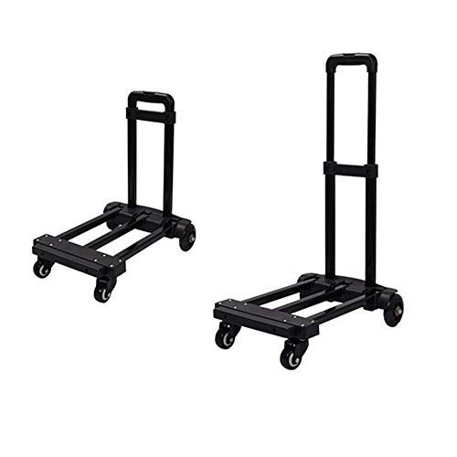 WY-YAN Folding trolley, light travel trolley/heavy trolley, portable 4-wheel luggage trolley with bungee cord for personal, mobile, travel and shopping purposes,A (Color : A)