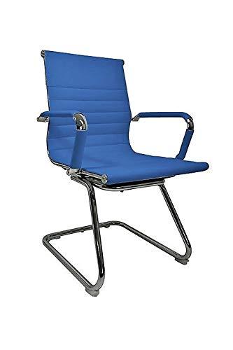 Vivol Silla de conferencia Valencia de piel sintética azul – sillas de comedor con reposabrazos – sillas disponibles