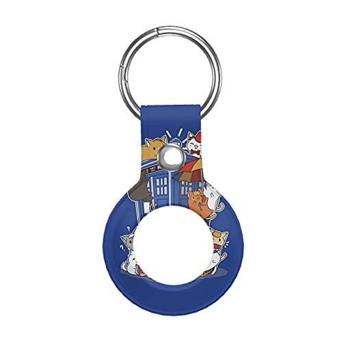 Funda de cuero para Apple Airtag Tracke Keychain, Kitten Who Caja de policía compatible con Air Tag Holder Finder