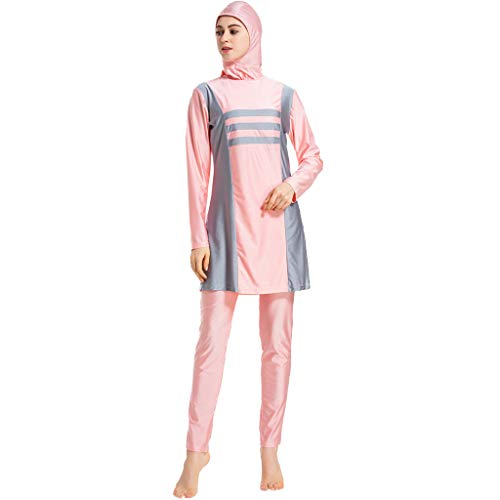 DONTAL Women Islamic Muslim Bathing Suit with Cap Printing Swimsuit Beachwear Women Swimwear Pink