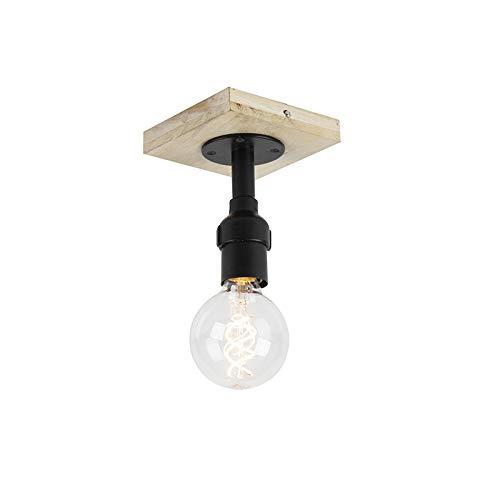 QAZQA Plafón industrial negro sin pantalla madera 1-luz - TUBS Acero/Alargada/Cuadrada/Cilíndra Adecuado...
