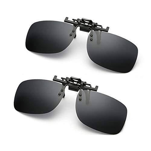 Occhiali da sole Clip su lenti polarizzate antiriflesso Flip Up, clip per lenti rettangolari senza cornice su occhiali da sole da vista per la guida di golf, tiro, pesca, confezione da 2