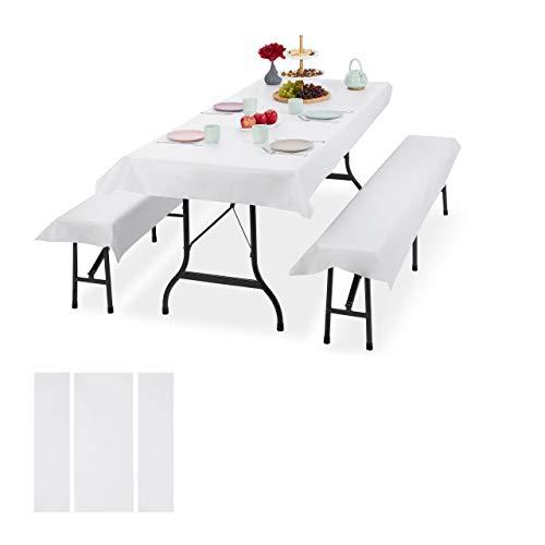 Relaxdays 6 x Bierzeltgarnitur Auflage, 2 Biertisch Tischdecken 250x100cm, 4 Bierbankauflagen 250x55cm, Outdoor, abwaschbar, weiß