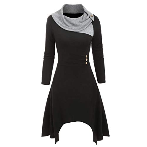 Vrouwen Gebreide Jurk Dames Lange Mouw Plus Size Sjaal Nek Knopen Patchwork Asymmetrische Herfst Winter Casual Werk Office Jumper Jurk