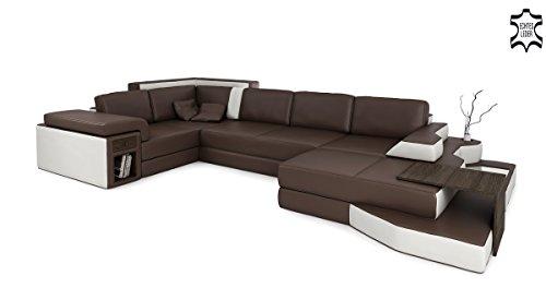 Bullhoff by Giovanni Capellini Ledercouch braun/weiß Wohnlandschaft XXL Ledersofa U-Form Designsofa Ecksofa Sofa Couch mit LED-LichtBERGAMO