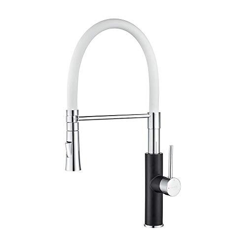 IBERGRIF M22115B-3, profesjonalna armatura kuchenna z prysznicem, kran do kuchni z białą elastyczną wylewką, czarny