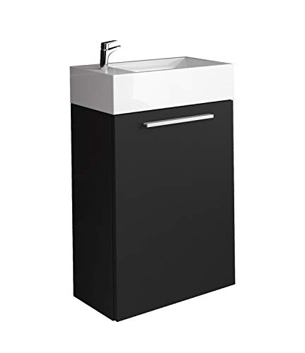 Badezimmer Badmöbel Athene 40x22 cm schwarzes Holz - Unterschrank Schrank Waschbecken Waschtisch
