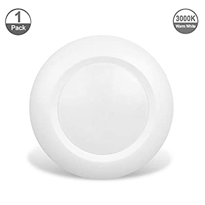 JULLISON 6 Inch LED Low Profile Recessed & Surface Mount Disk Light, Round, 15W, 900 Lumens, 3000K Warm White, CRI80, Driverless Design, Dimmable, Energy Star, cETLus Listed, White(1 Pack) ...