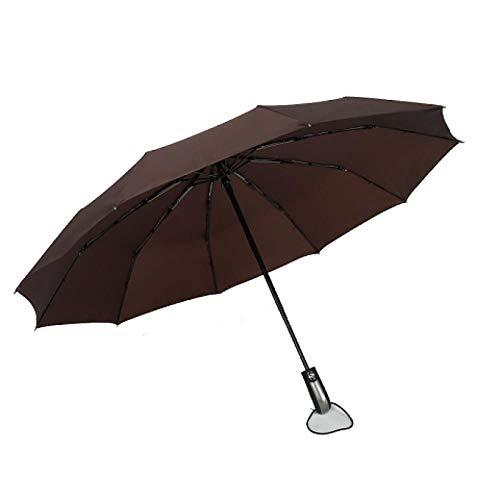 ZXCN Regenschirm Kompakt Taschenschirm Einfarbiges Automatisches Öffnen und Schließen Schirm für Klein Leicht Windsicher 10 Knochen Kaffee
